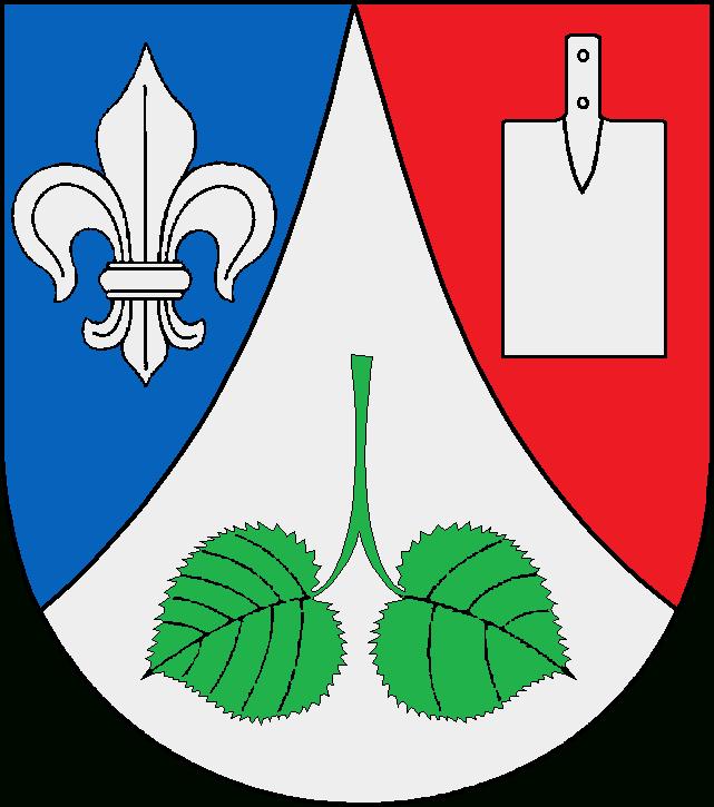 Der Spaten im Wappen steht für die Arbeit im Moor. Die Adern der Lindenblätter symbolisieren die neun bzw. fünf ursprünglichen Hofstellen.